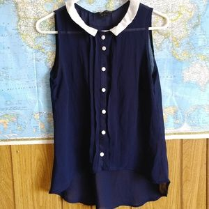 Navy Button Down Peter Pan Collar Tank Blouse, M
